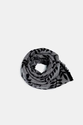 Oversized scarf with LENZING™ ECOVERO™, BLACK, detail
