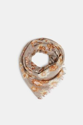 Textured scarf with floral print, CAMEL, detail