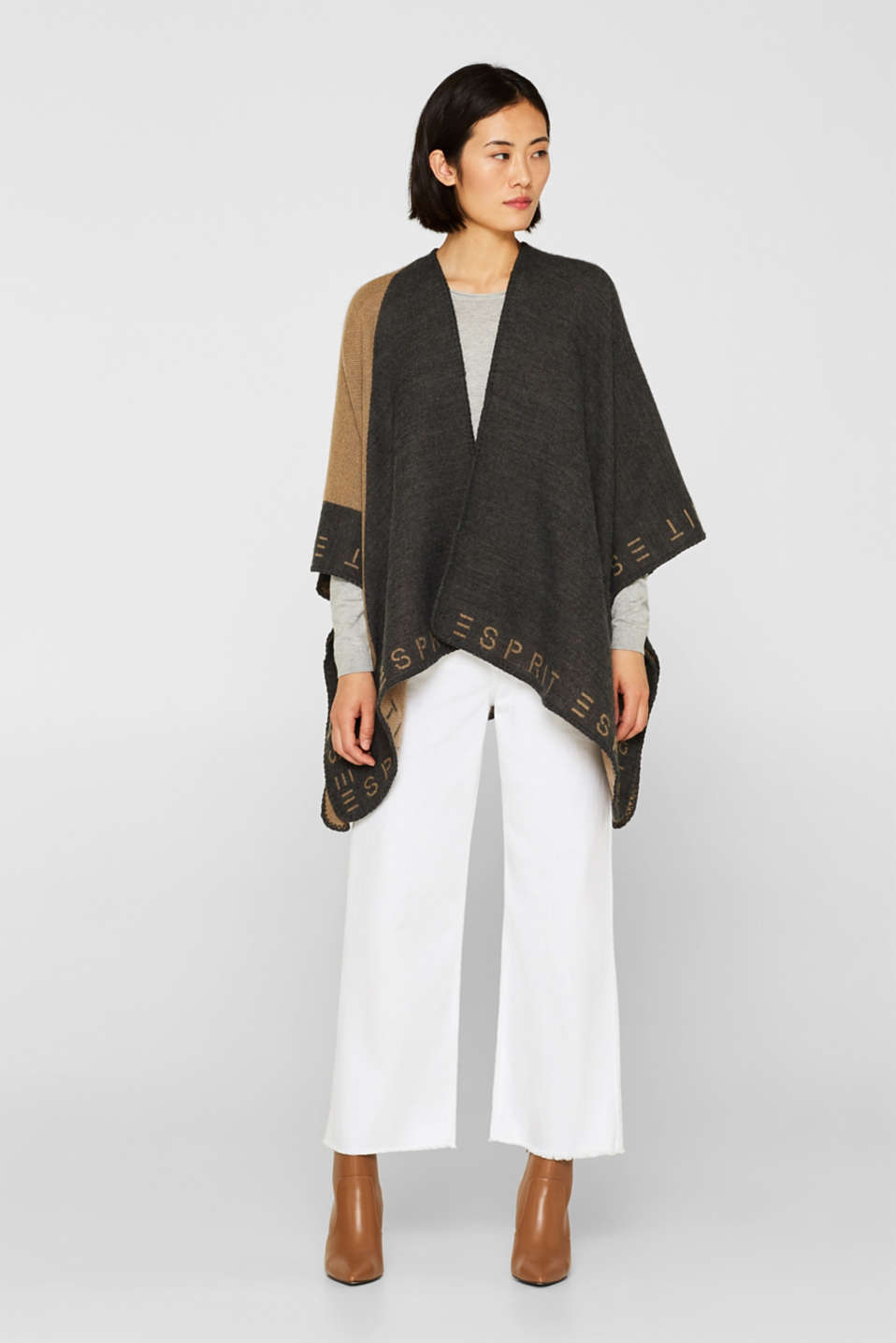 Esprit - Poncho with an interwoven logo