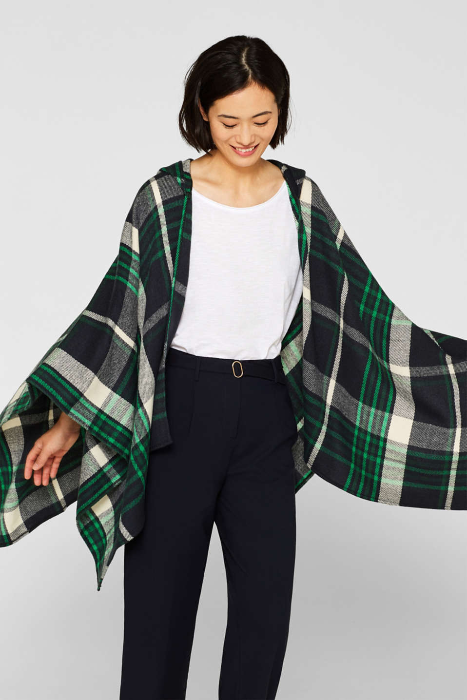 Esprit - Check poncho with a hood