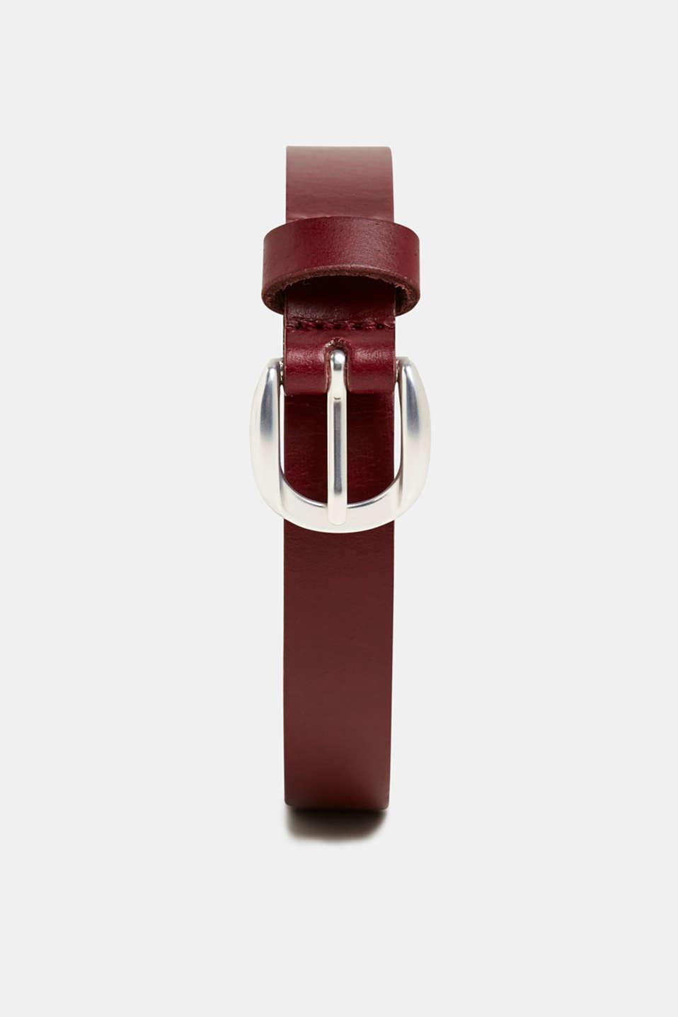 Narrow leather belt, GARNET RED, detail image number 0