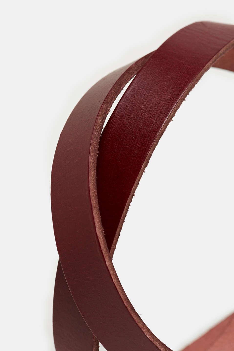 Narrow leather belt, GARNET RED, detail image number 1