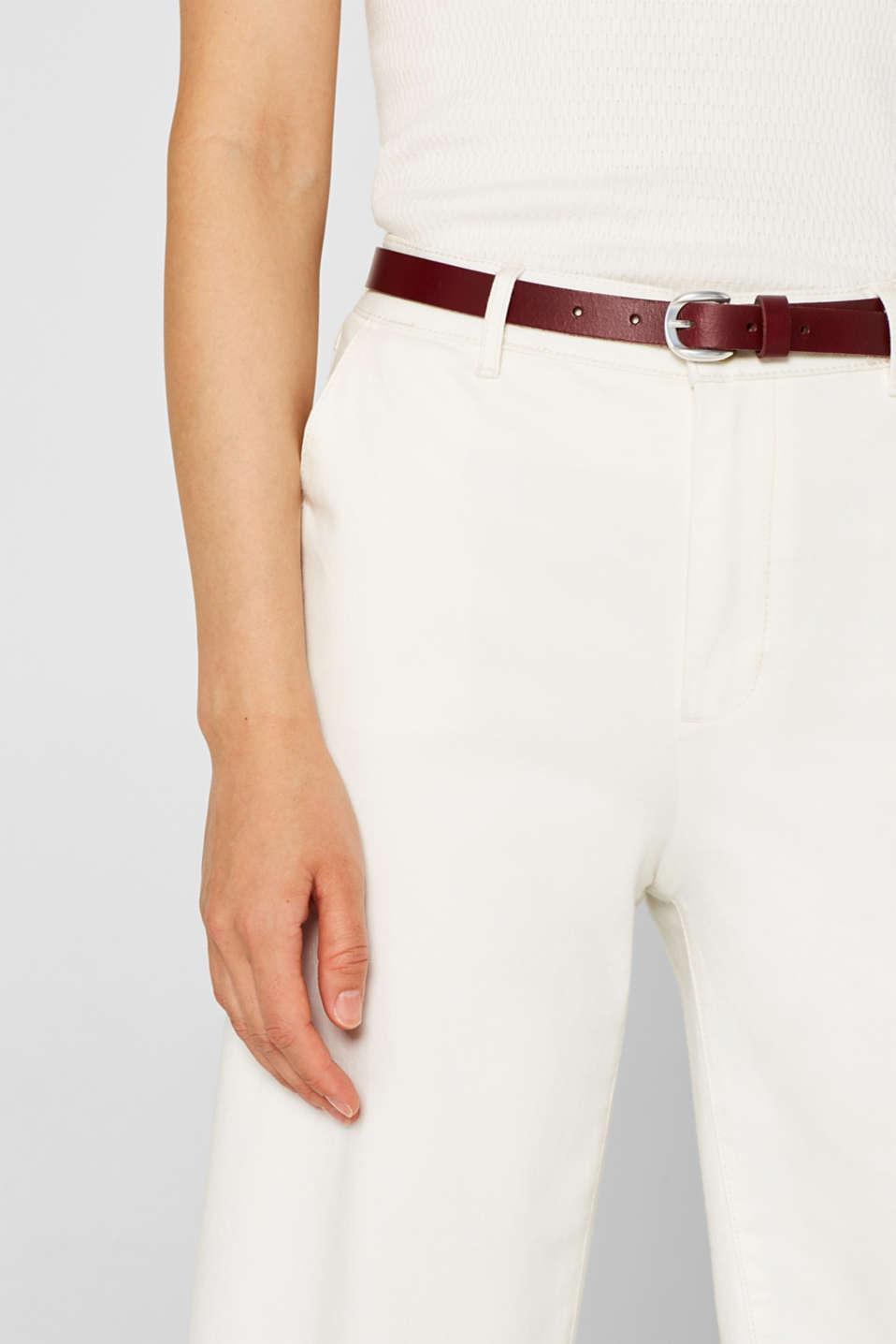 Narrow leather belt, GARNET RED, detail image number 2