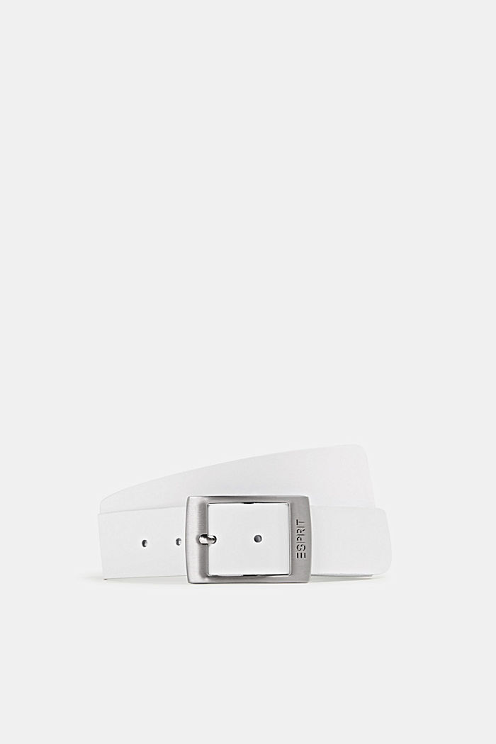 Wide leather belt, WHITE, detail image number 0
