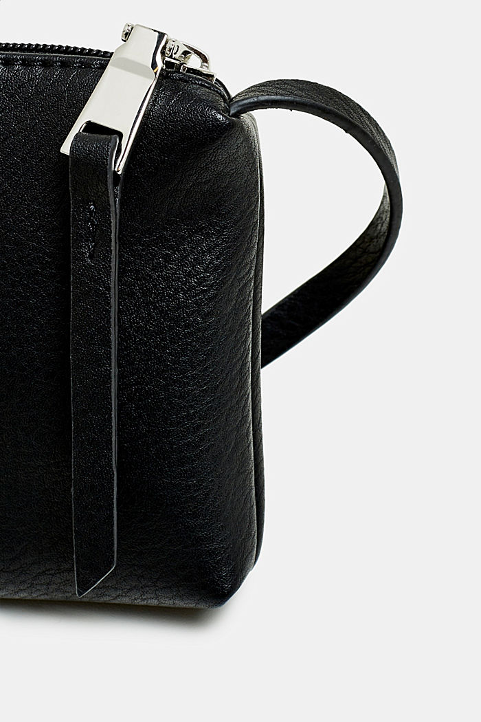 Piccola tasca con zip in similpelle, BLACK, detail image number 1