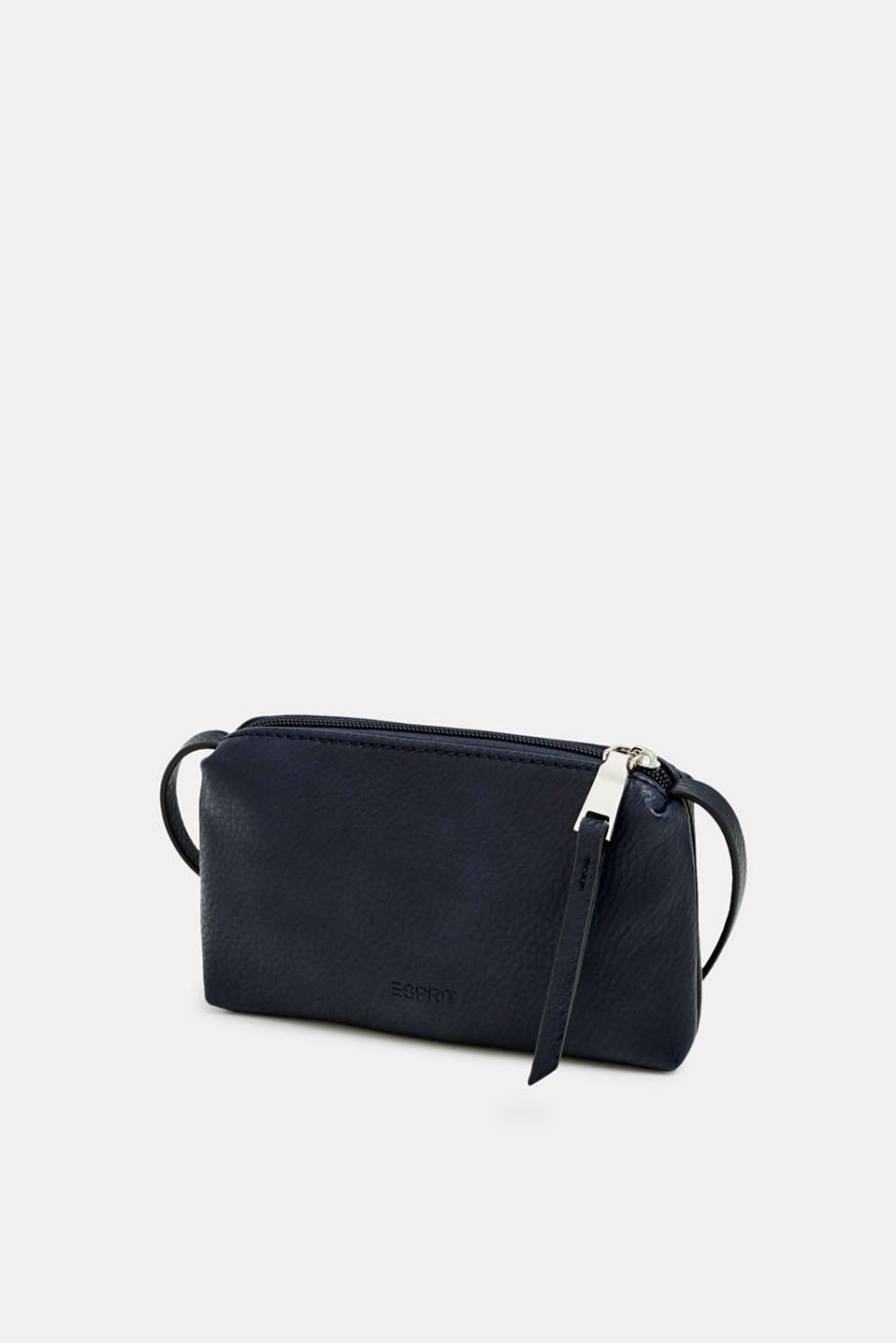 Small zip-up bag made of faux leather, NAVY, detail image number 2