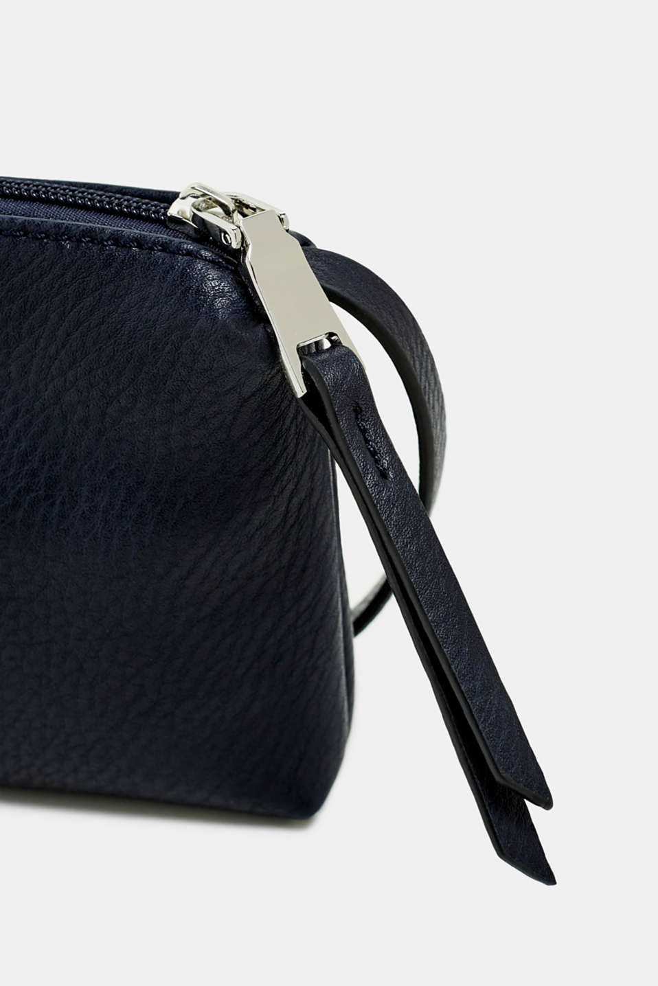 Small zip-up bag made of faux leather, NAVY, detail image number 1