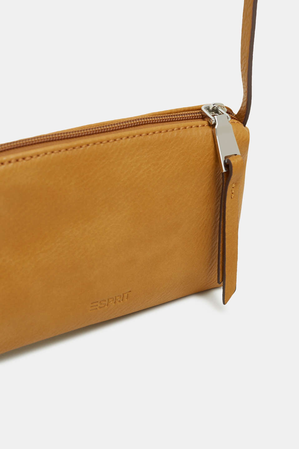Small zip-up bag made of faux leather, AMBER YELLOW, detail image number 1