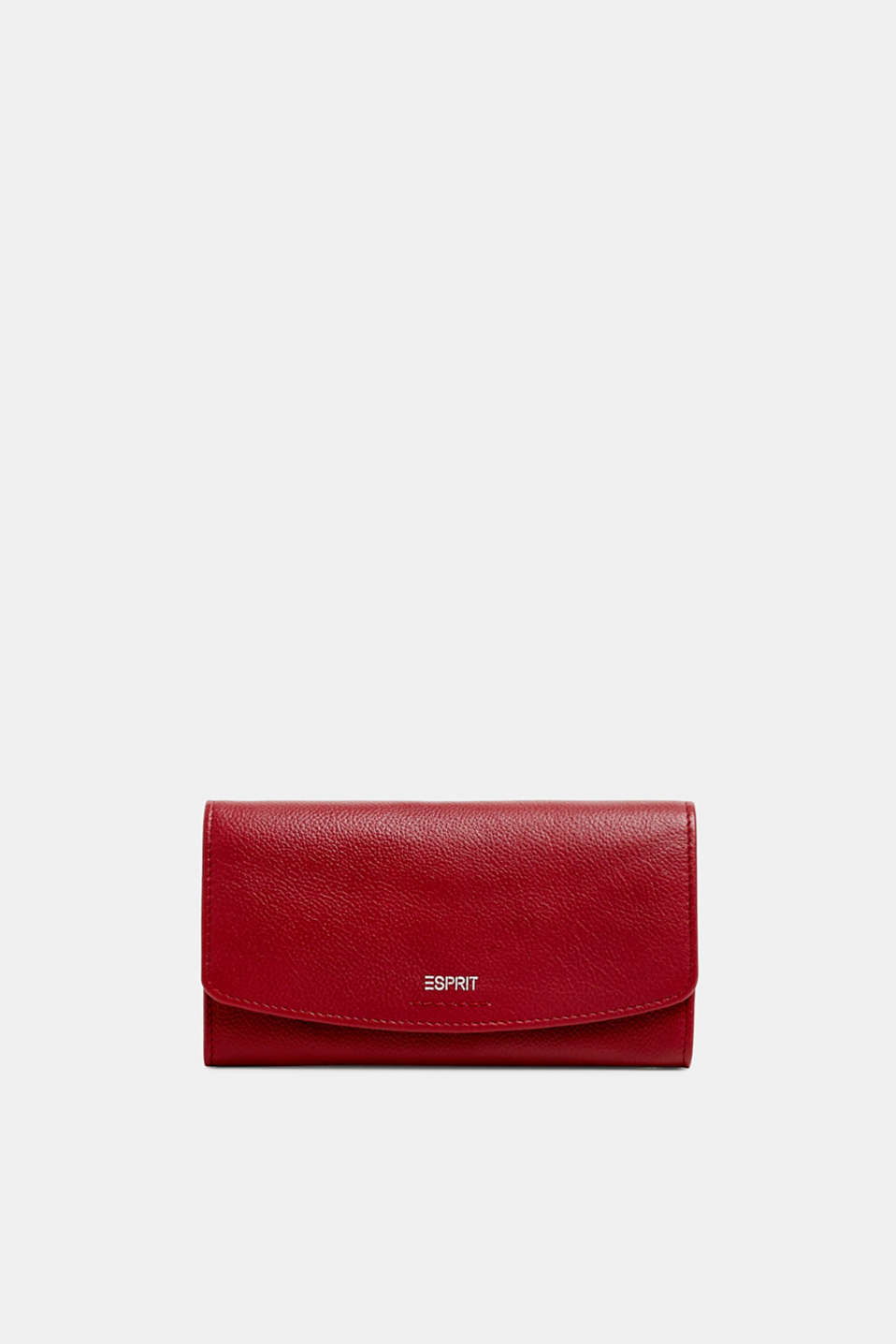 Waiter-style purse, in leather, GARNET RED, detail image number 0