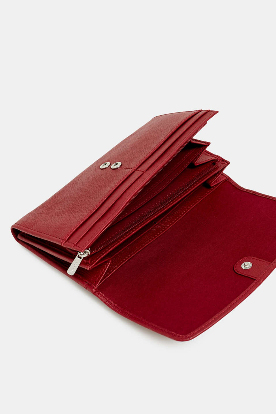 Waiter-style purse, in leather, GARNET RED, detail image number 2