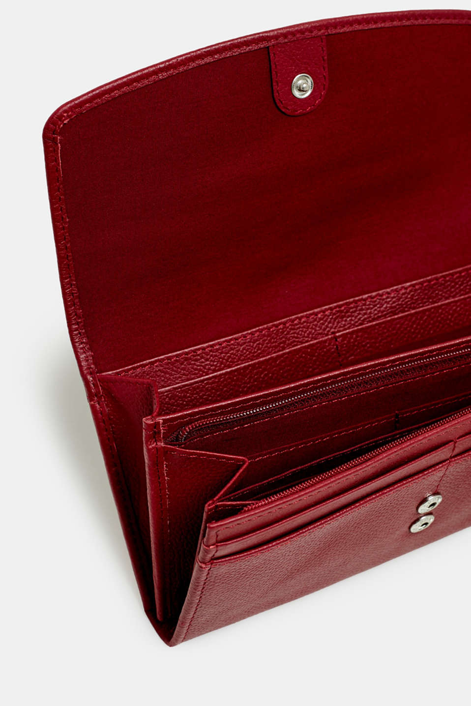 Waiter-style purse, in leather, GARNET RED, detail image number 1