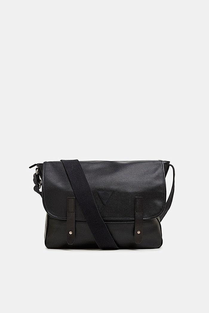Faux leather messenger bag, BLACK, detail image number 0