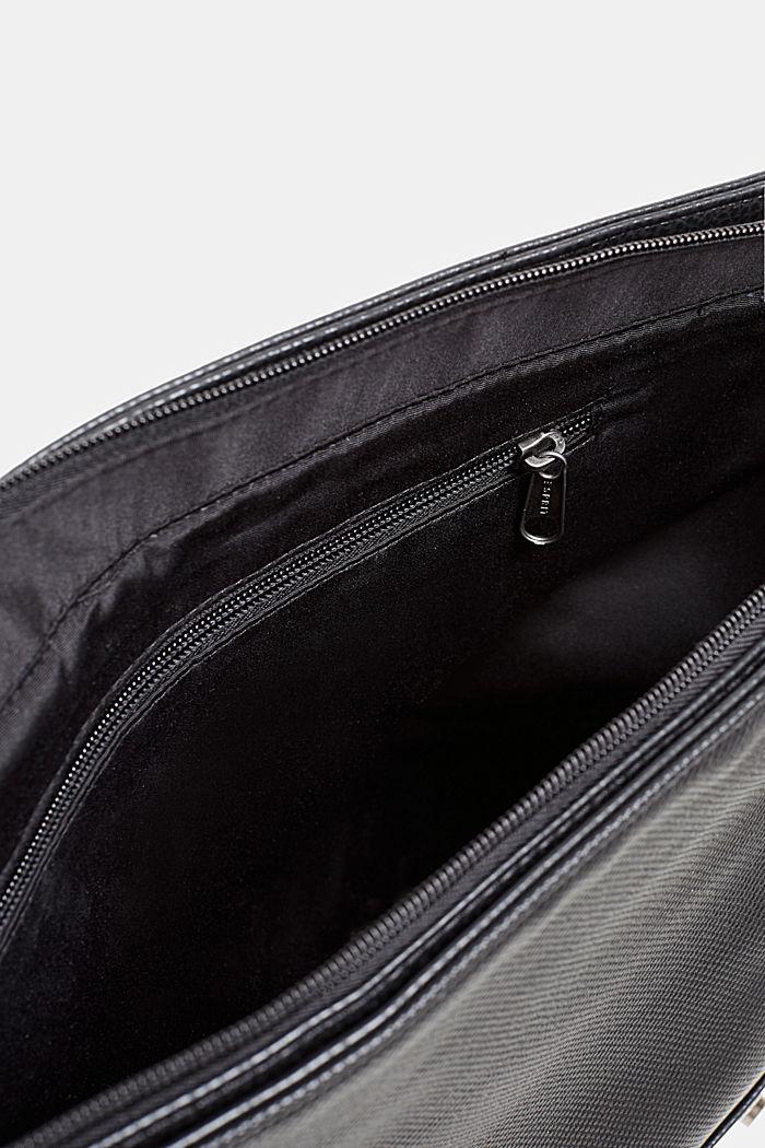 Faux leather messenger bag, BLACK, detail image number 4
