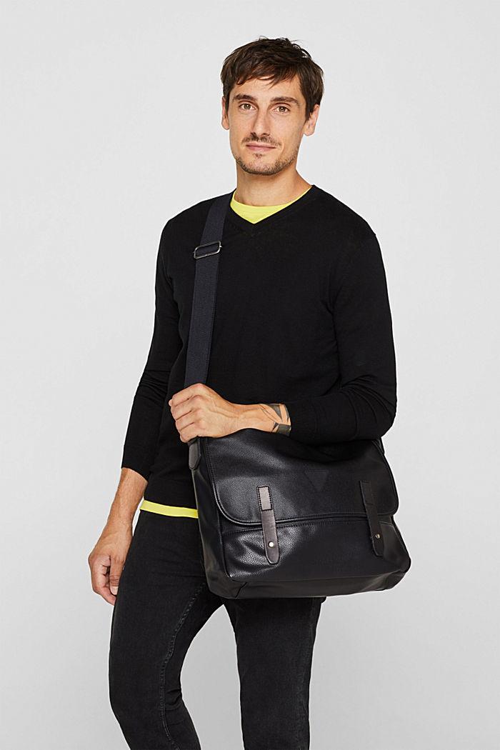 Faux leather messenger bag, BLACK, detail image number 1