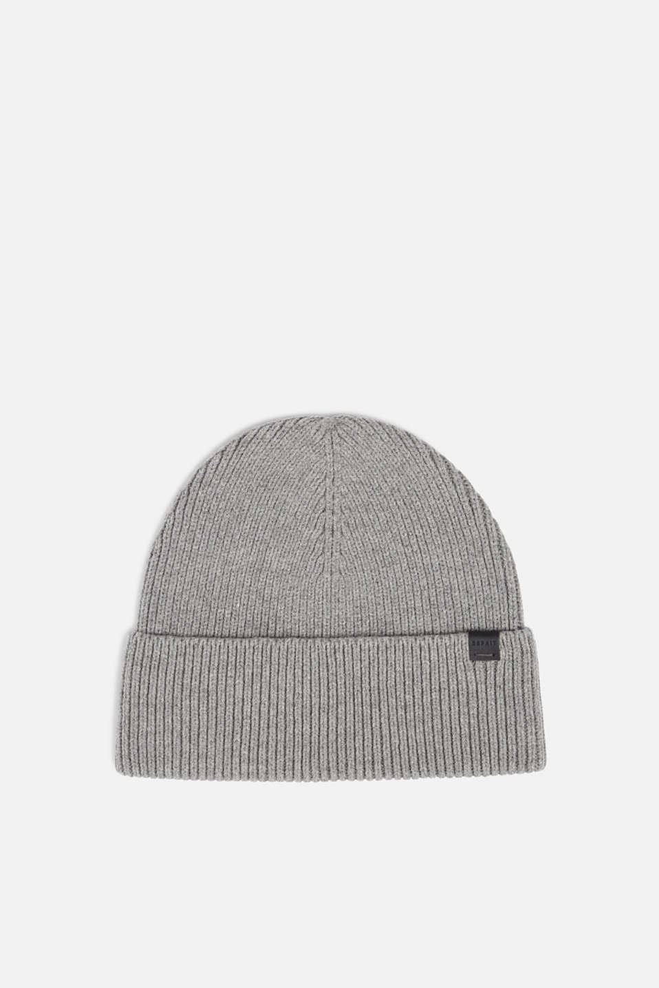 Hat with ribbed pattern, made of blended cotton, MEDIUM GREY, detail image number 0