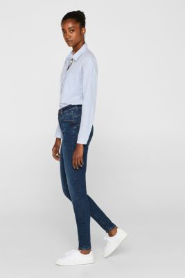 Figure-shaping jeans with garment-washed effects, BLUE DARK WASH, detail