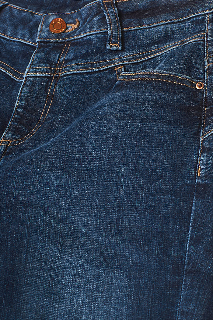 Figure-shaping jeans with garment-washed effects, BLUE DARK WASHED, detail image number 4
