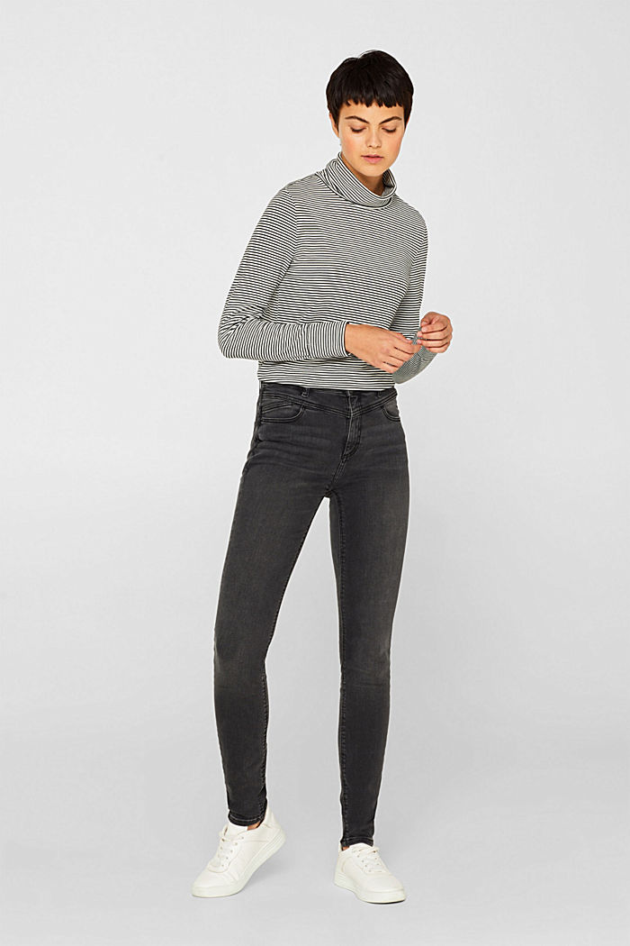 Super stretch jeans with a high waistband, GREY DARK WASHED, detail image number 0