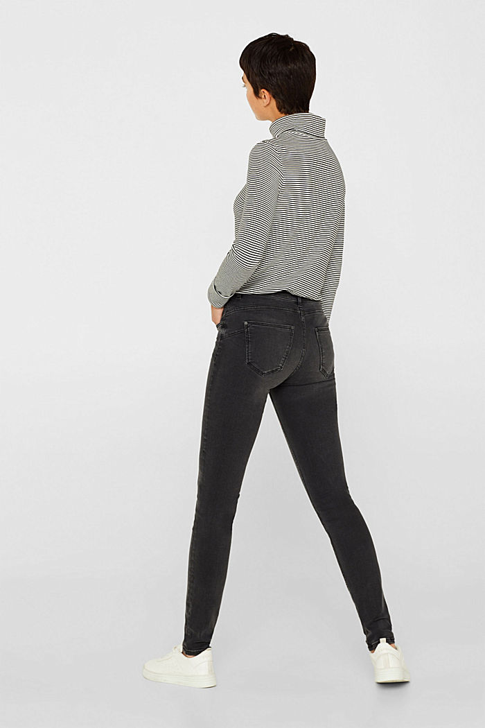 Super stretch jeans with a high waistband, GREY DARK WASHED, detail image number 3