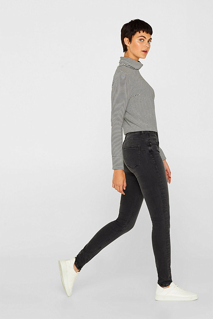 Super stretch jeans with a high waistband, GREY DARK WASHED, detail image number 1