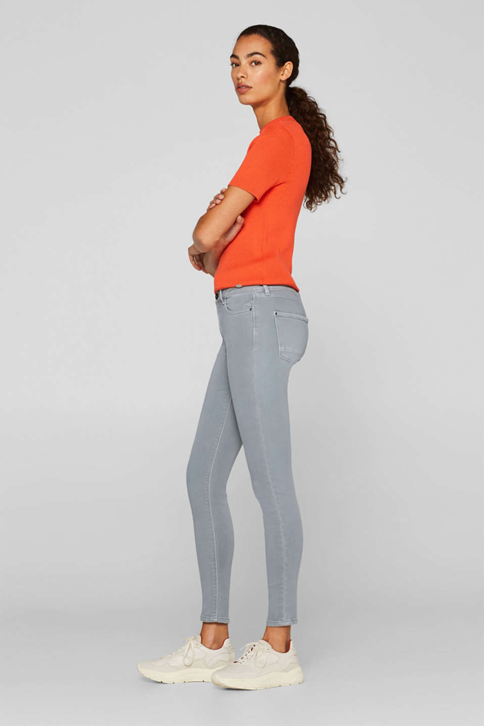 Super stretch jeans made of tracksuit fabric, GREY BLUE, detail image number 5