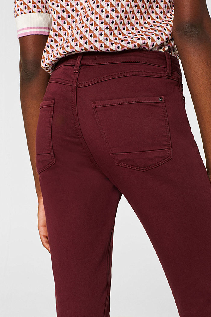 Super stretch jeans made of tracksuit fabric, GARNET RED, detail image number 5