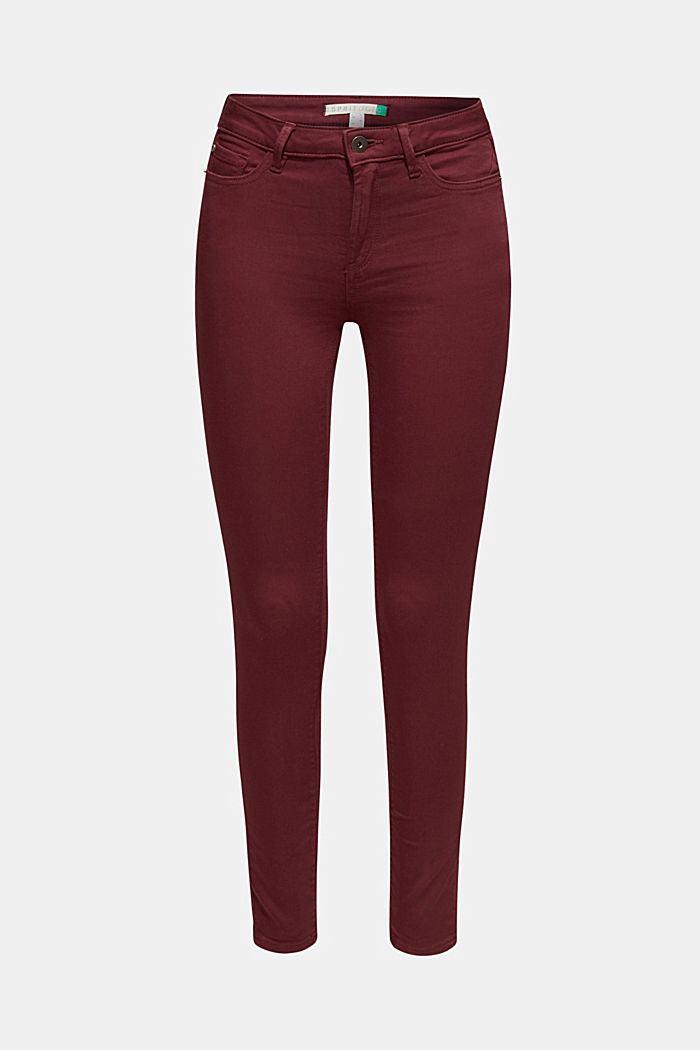 Super stretch jeans made of tracksuit fabric, GARNET RED, detail image number 0