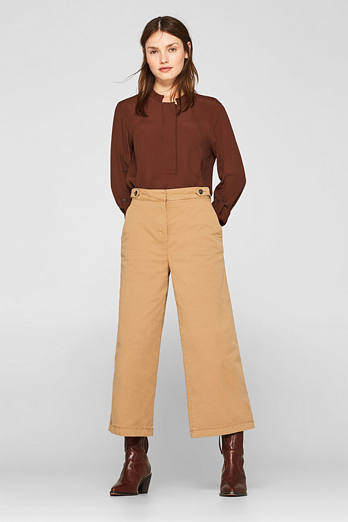 Culottes with organic cotton, CAMEL, detail image number 0