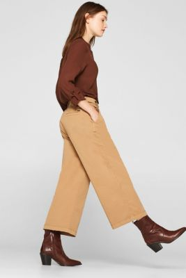 Culottes with organic cotton, CAMEL, detail