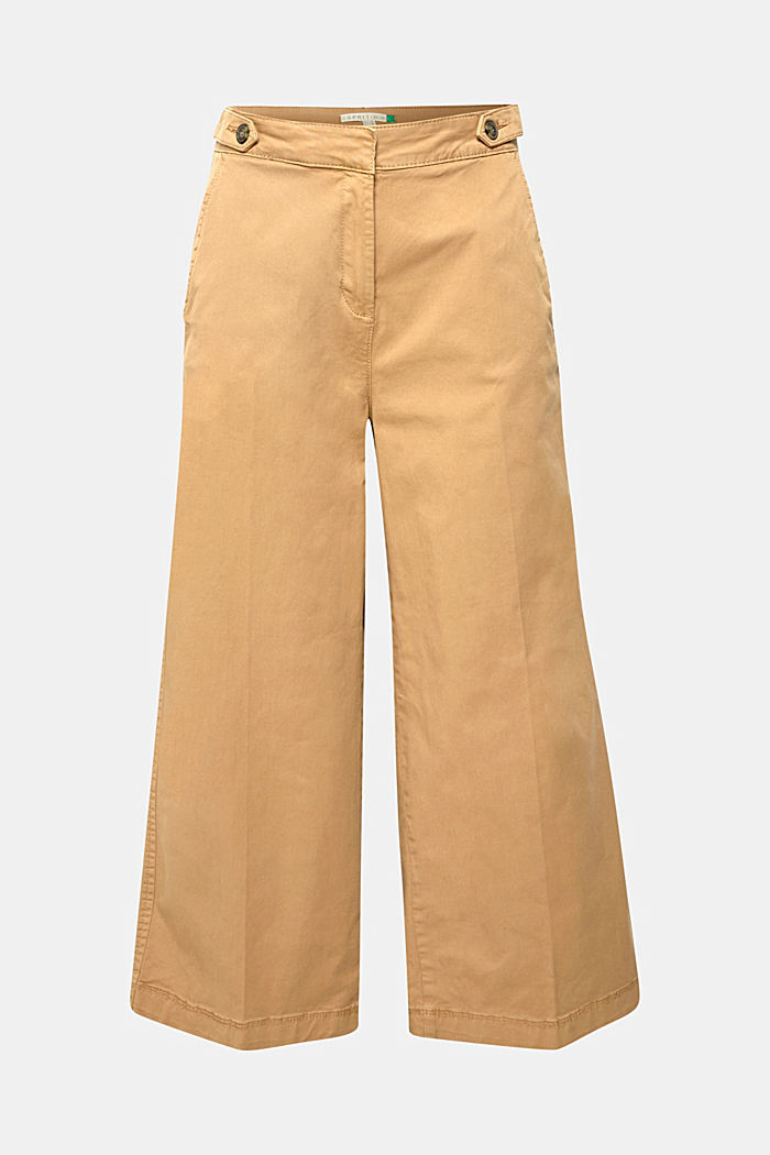 Culottes with organic cotton, CAMEL, overview