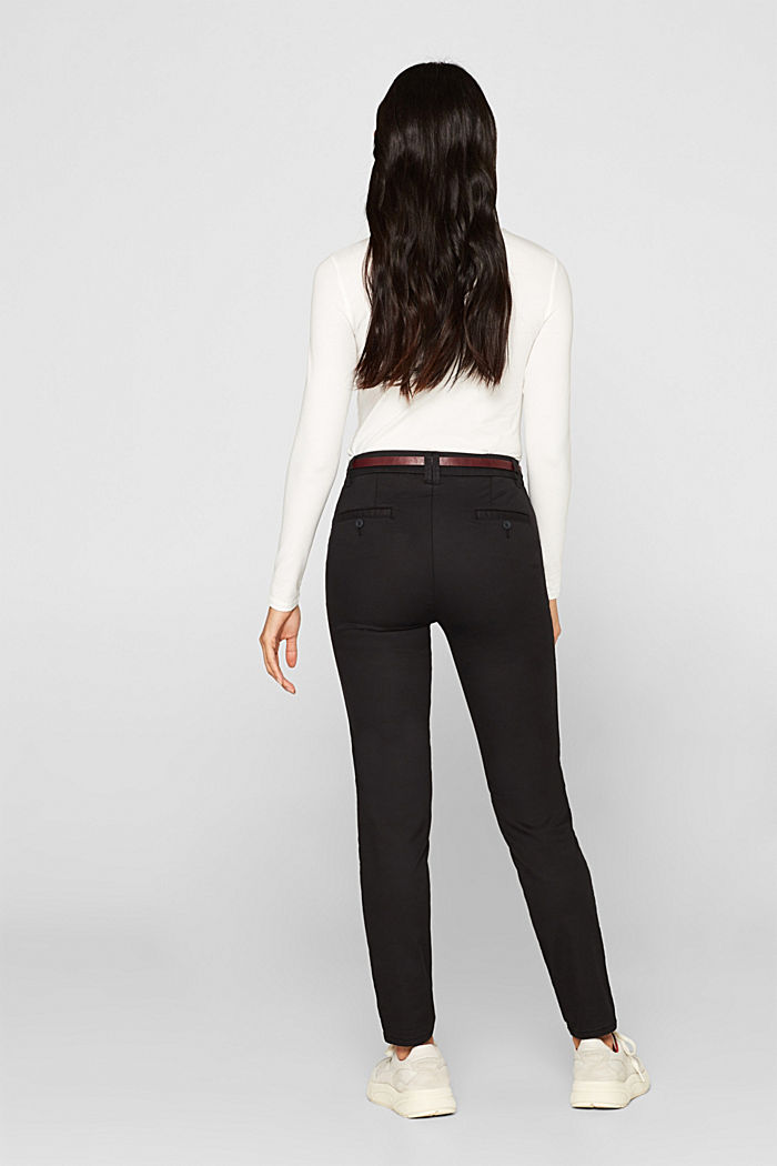 Autumn chinos with stretch and belt, BLACK, detail image number 3