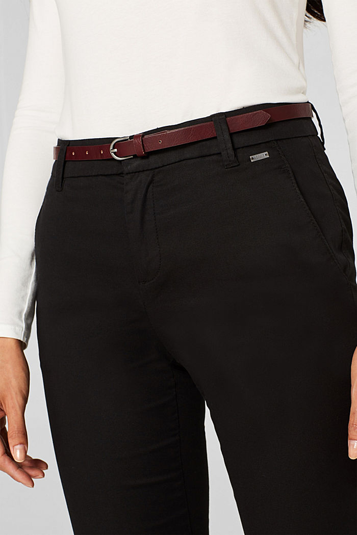 Autumn chinos with stretch and belt, BLACK, detail image number 2