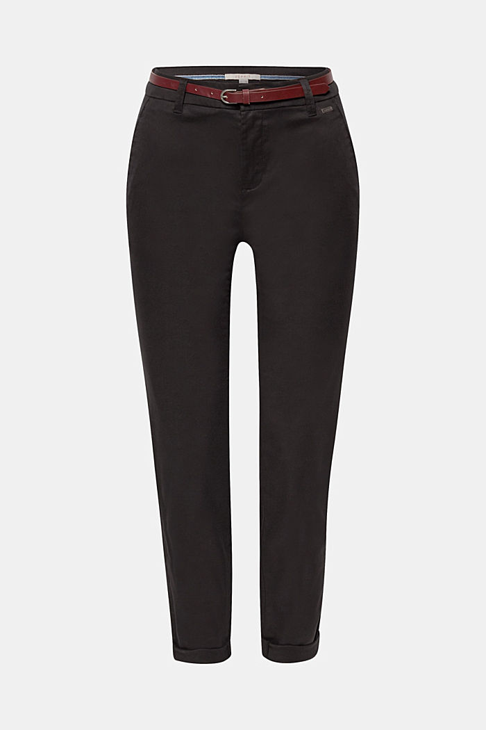 Autumn chinos with stretch and belt, BLACK, detail image number 0