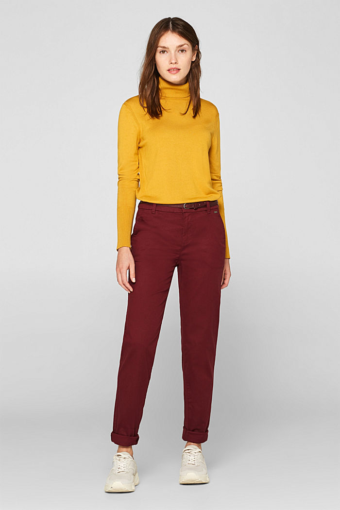Autumn chinos with stretch and belt, GARNET RED, detail image number 0