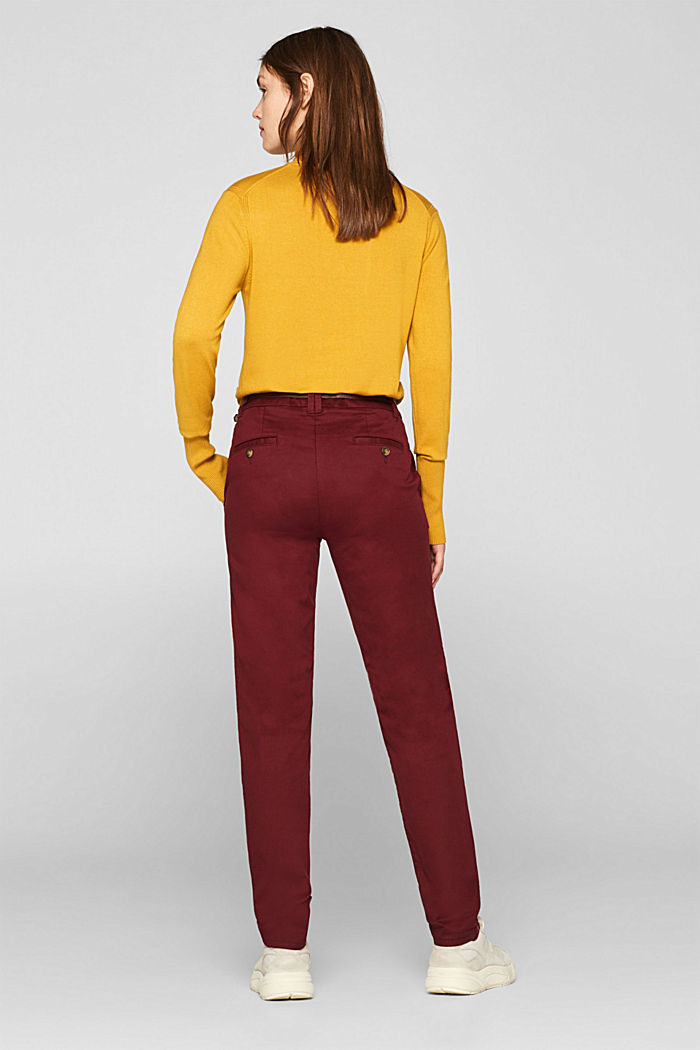 Autumn chinos with stretch and belt, GARNET RED, detail image number 3