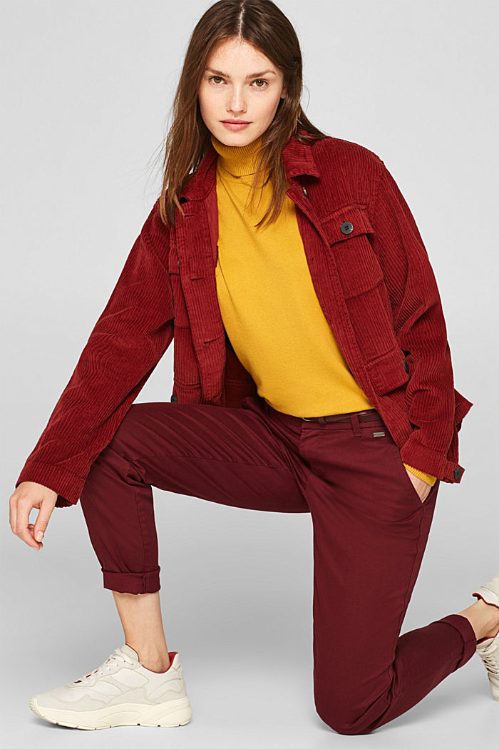Autumn chinos with stretch and belt, GARNET RED, detail image number 1