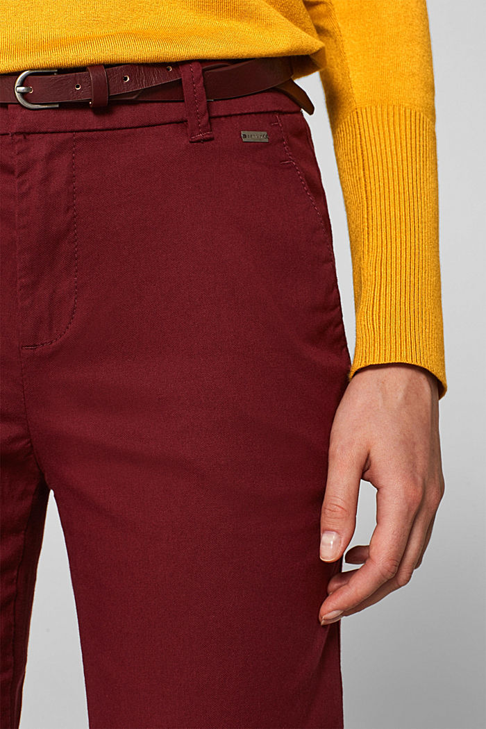 Autumn chinos with stretch and belt, GARNET RED, detail image number 2