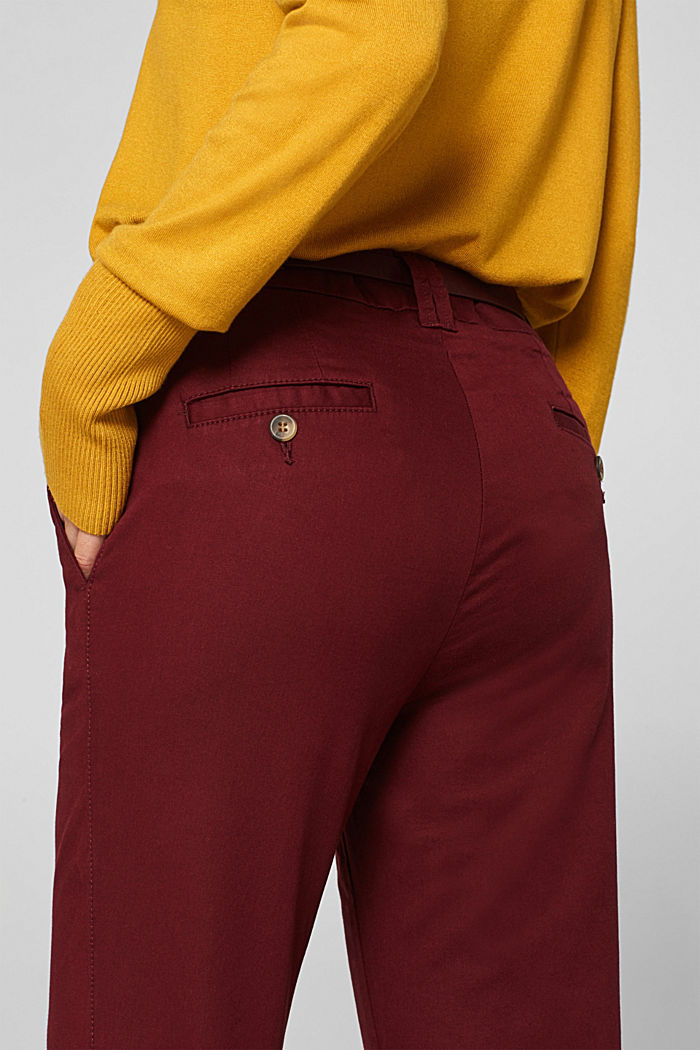 Autumn chinos with stretch and belt, GARNET RED, detail image number 5