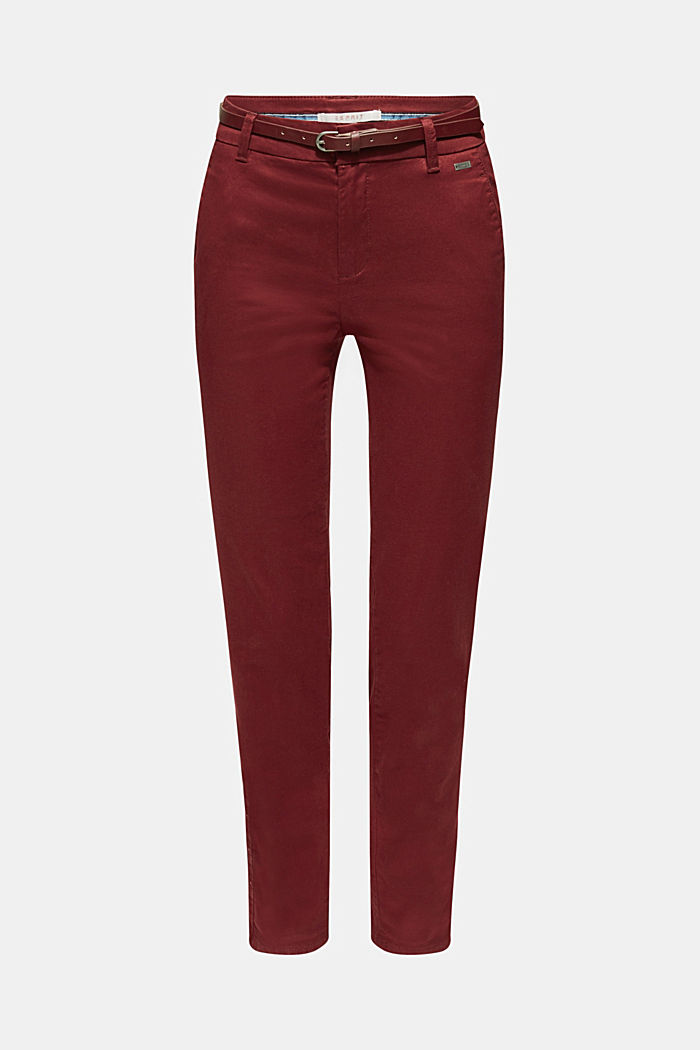 Autumn chinos with stretch and belt, GARNET RED, detail image number 6