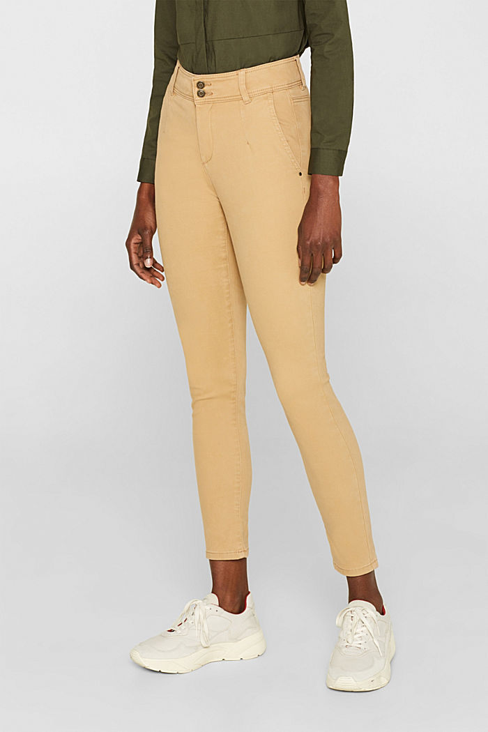 Soft stretch trousers with two buttons, CAMEL, detail image number 6