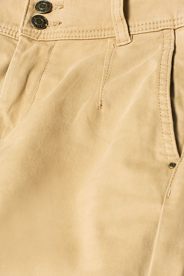 Soft stretch trousers with two buttons, CAMEL, detail image number 4