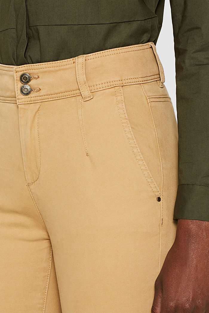 Soft stretch trousers with two buttons, CAMEL, detail image number 5