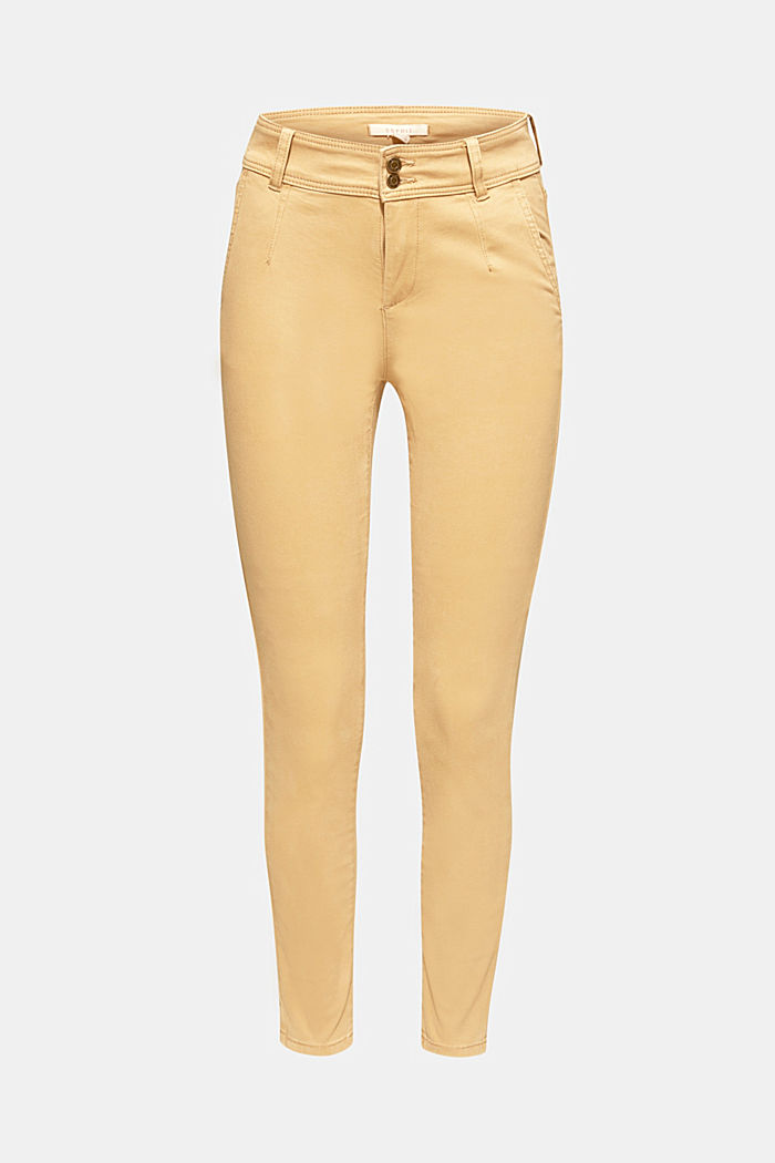 Soft stretch trousers with two buttons, CAMEL, detail image number 7