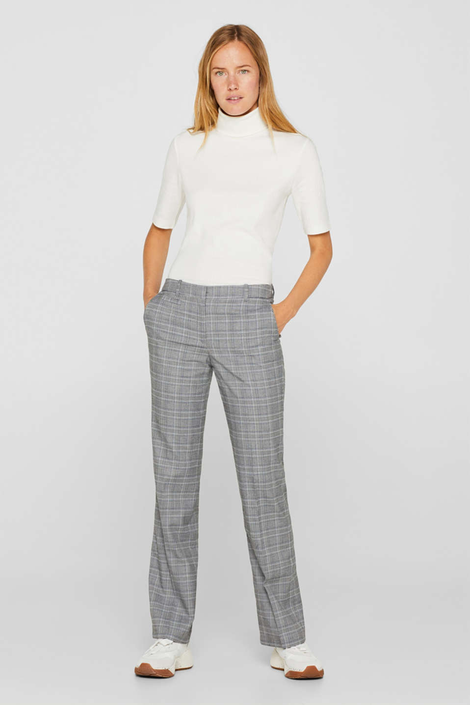 Esprit - Stretch trousers with a Prince of Wales check