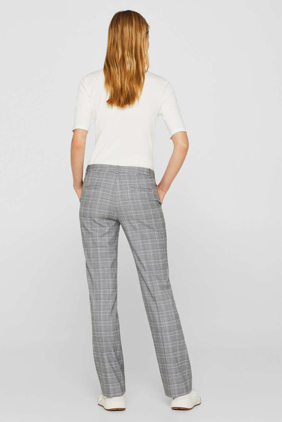 Stretch trousers with a Prince of Wales check, GREY BLUE, detail image number 3