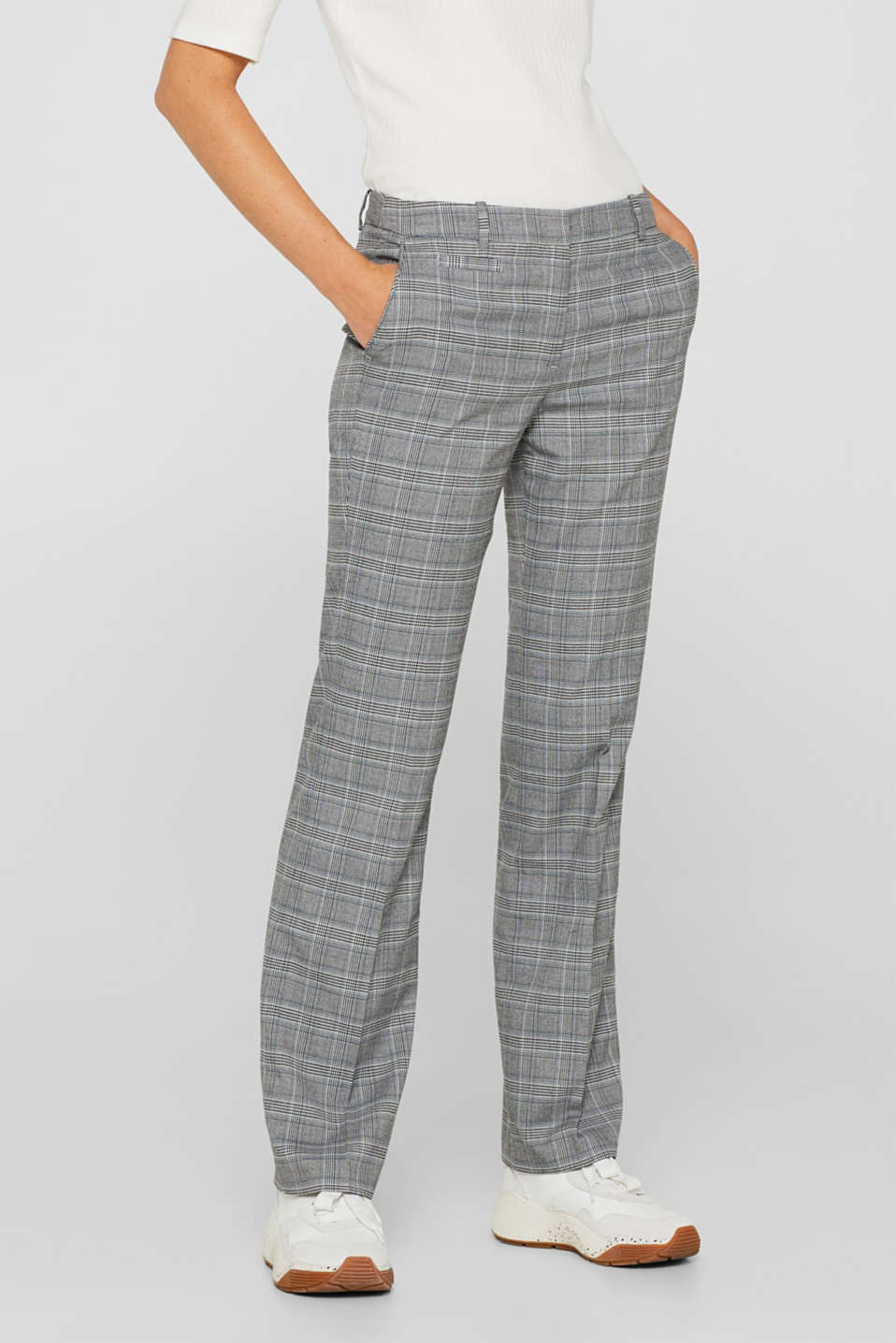 Stretch trousers with a Prince of Wales check, GREY BLUE, detail image number 7