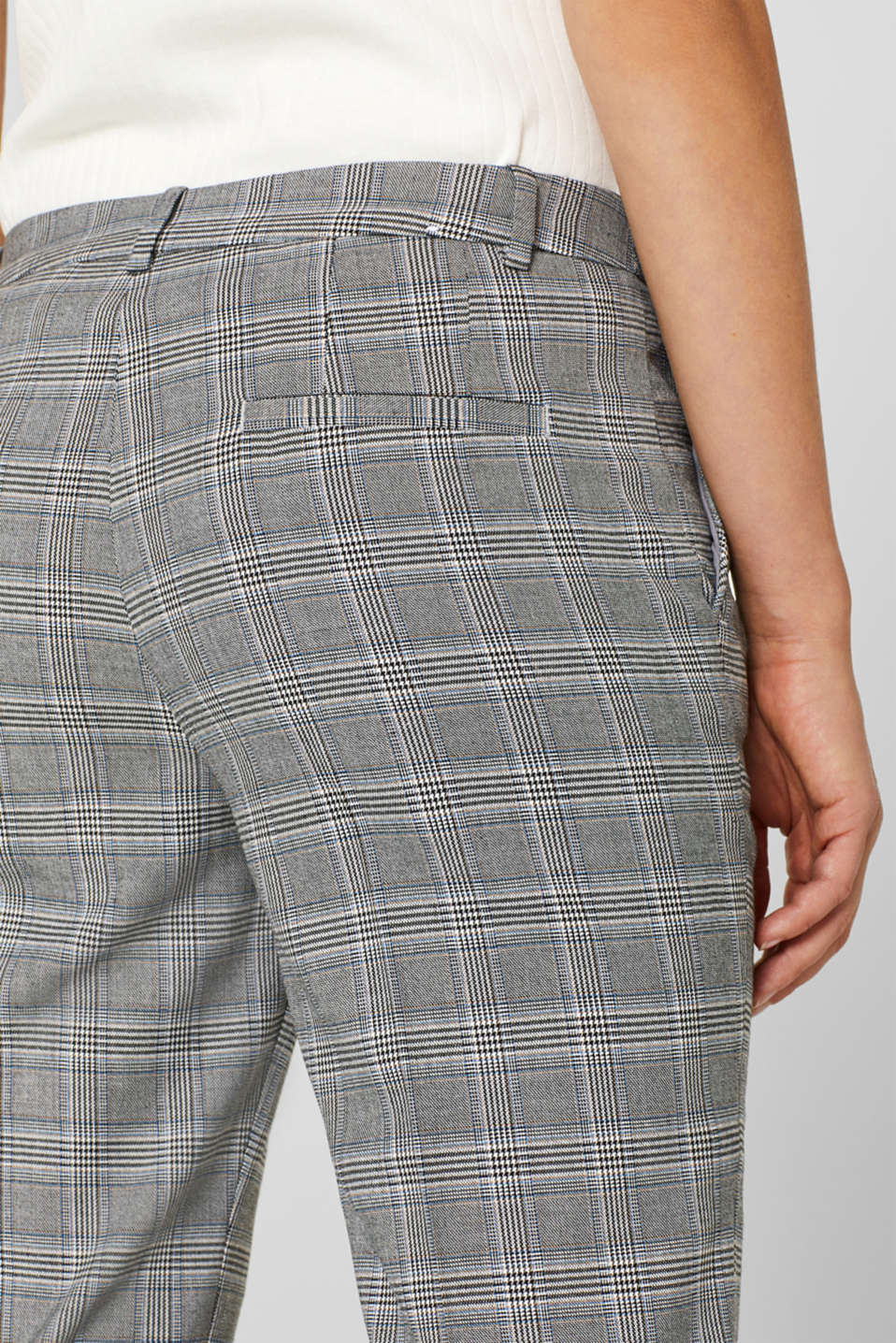 Stretch trousers with a Prince of Wales check, GREY BLUE, detail image number 2