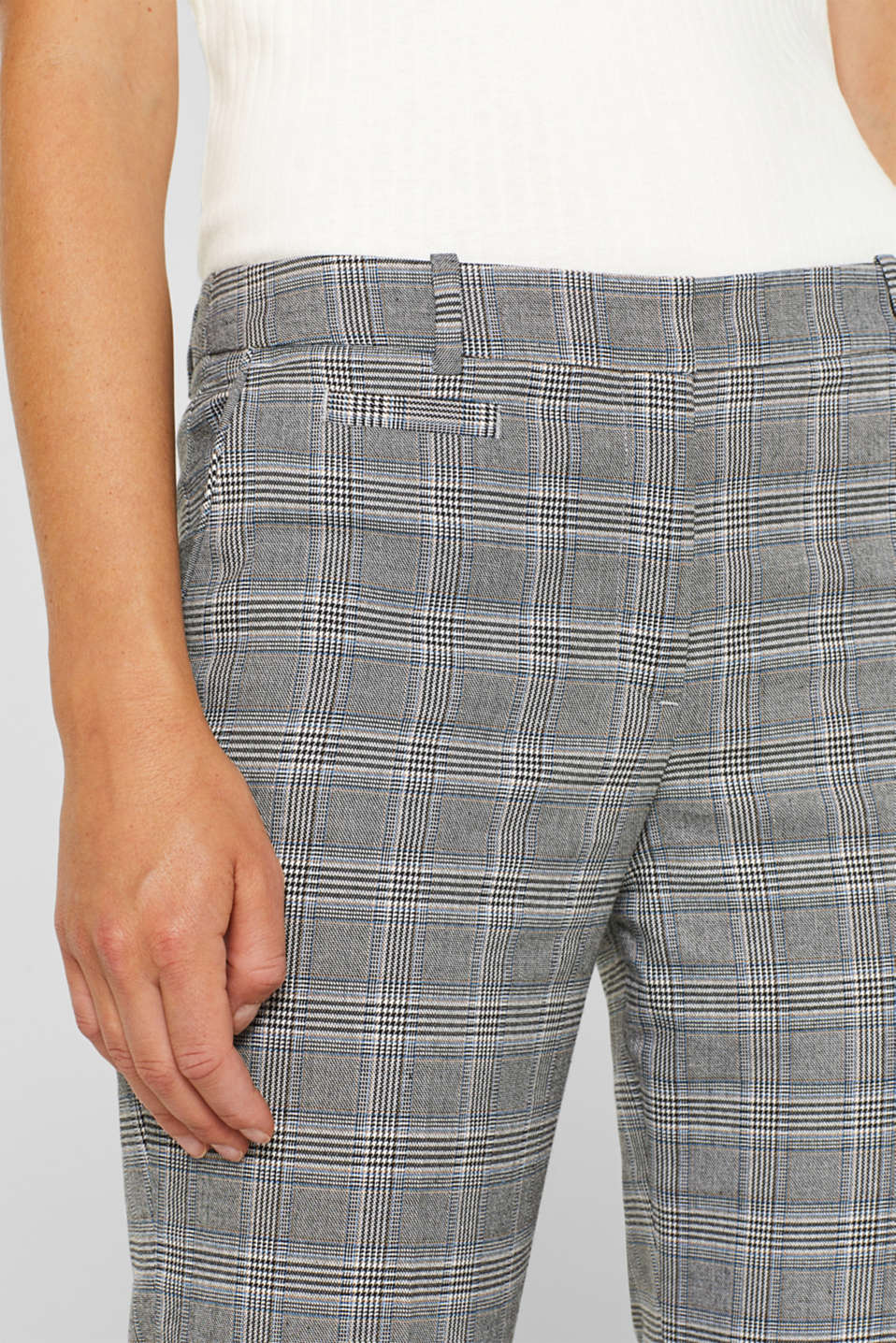 Stretch trousers with a Prince of Wales check, GREY BLUE, detail image number 6