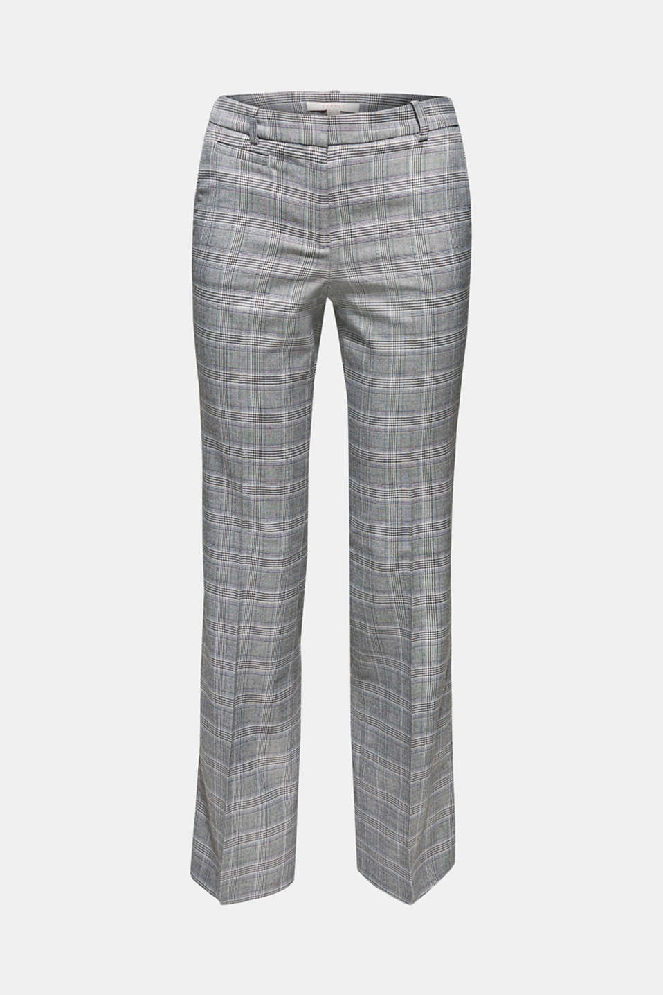Stretch trousers with a Prince of Wales check, GREY BLUE, detail image number 8