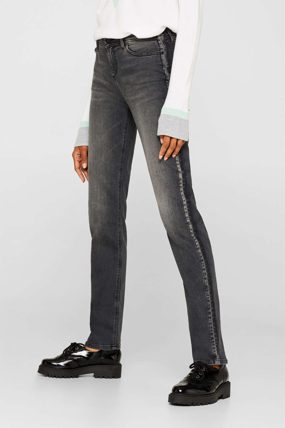 Stretch jeans with a garment wash, GREY DARK WASH, detail image number 6